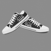Handmade Black Men Lace-Up Low-top Converse Canvas Shoes